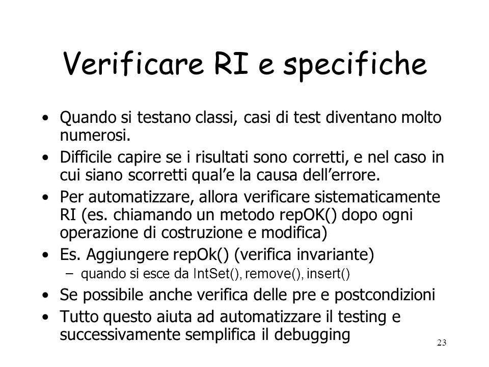 Verificare RI e specifiche
