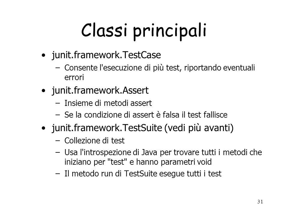 Classi principali junit.framework.TestCase junit.framework.Assert
