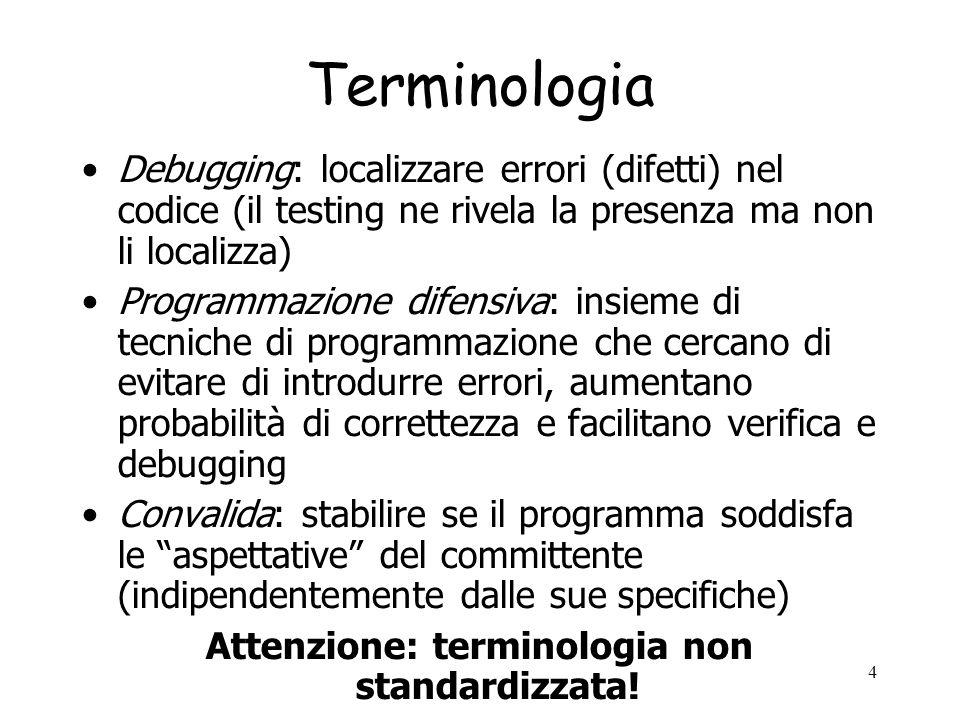 Attenzione: terminologia non standardizzata!