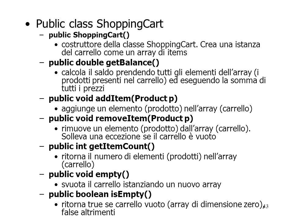 Public class ShoppingCart