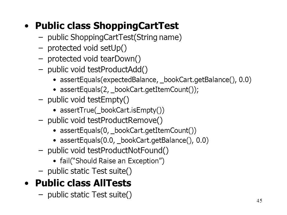 Public class ShoppingCartTest