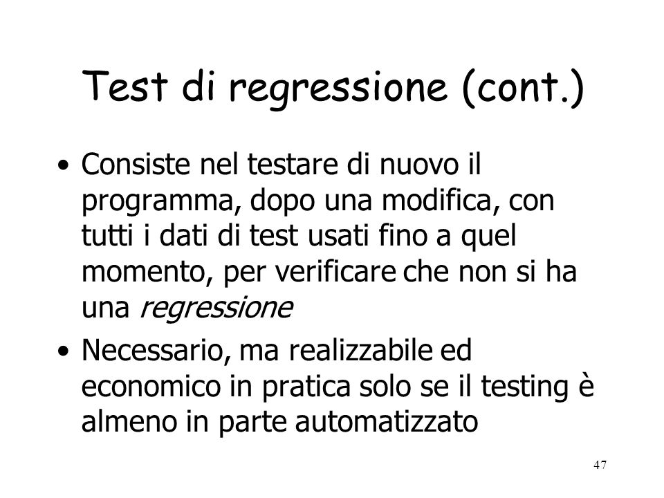 Test di regressione (cont.)