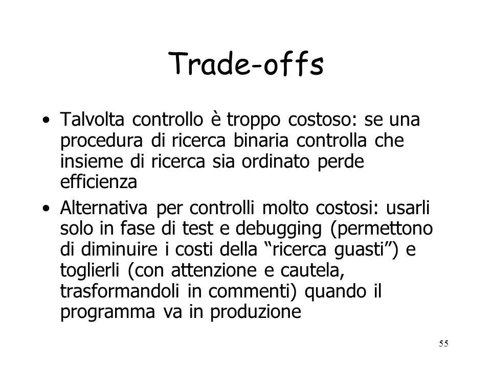 Trade-offs Talvolta controllo è troppo costoso: se una procedura di ricerca binaria controlla che insieme di ricerca sia ordinato perde efficienza.