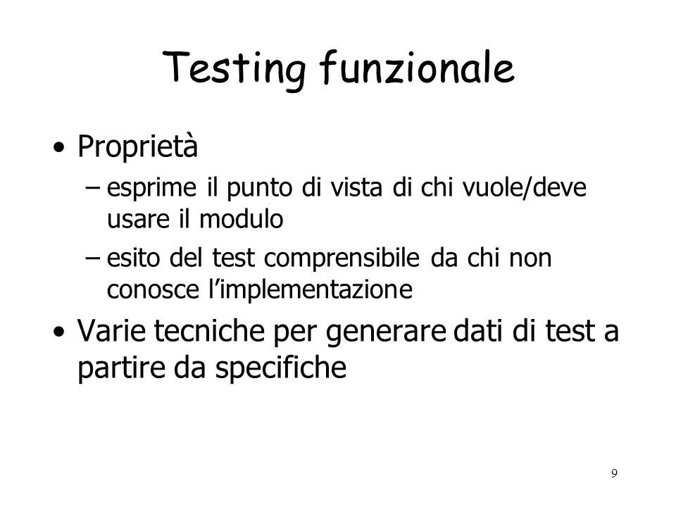 Testing funzionale Proprietà