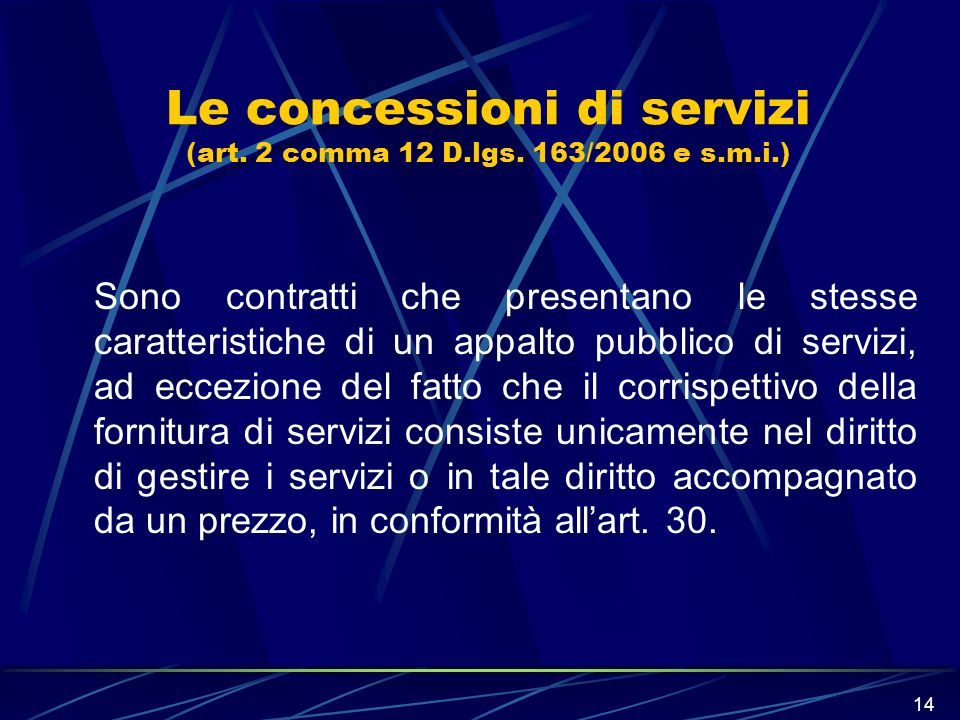 Le concessioni di servizi (art. 2 comma 12 D.lgs. 163/2006 e s.m.i.)