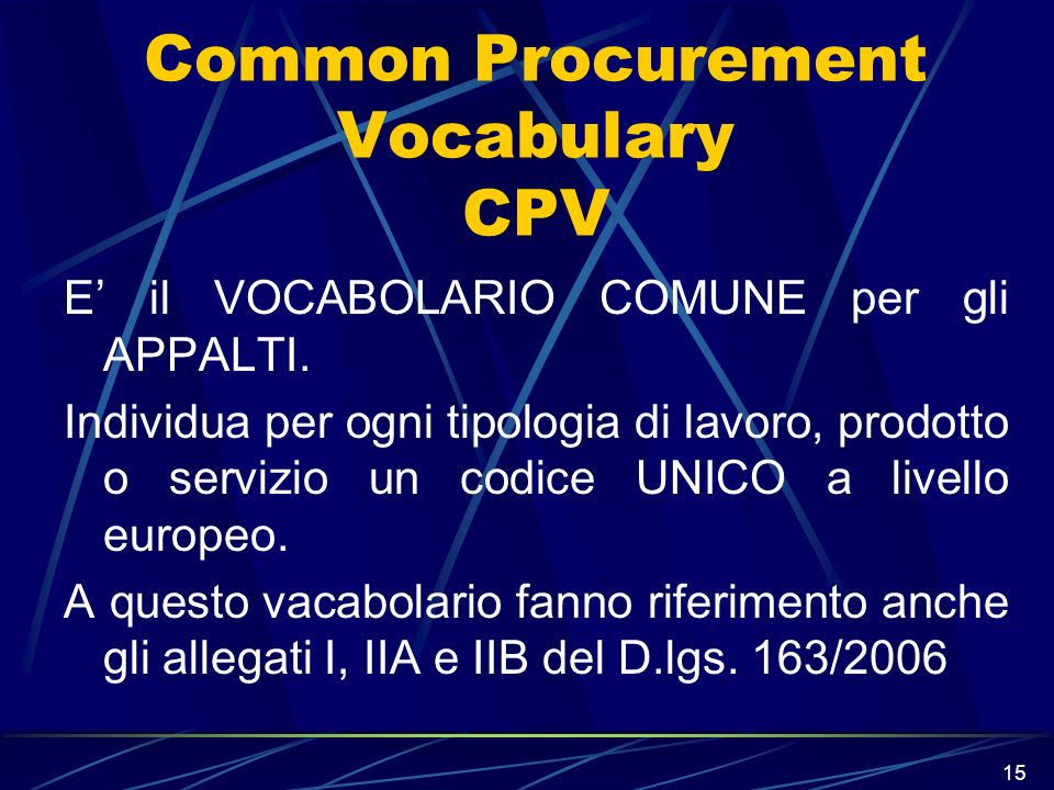 Common Procurement Vocabulary CPV