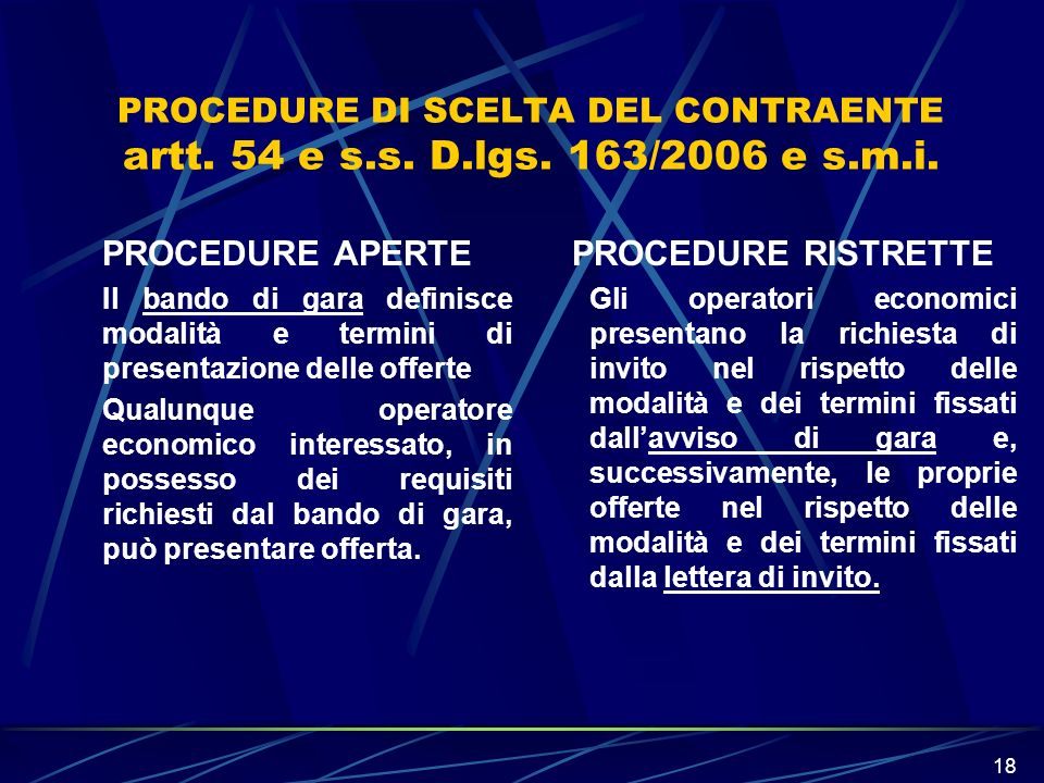 PROCEDURE APERTE PROCEDURE RISTRETTE