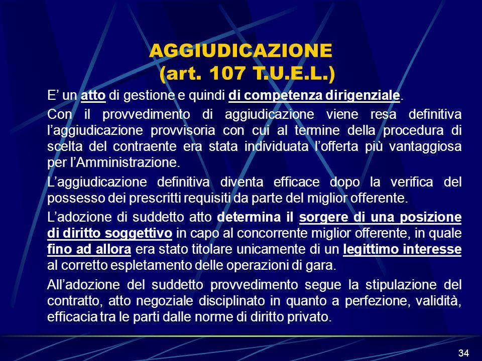 AGGIUDICAZIONE (art. 107 T.U.E.L.)