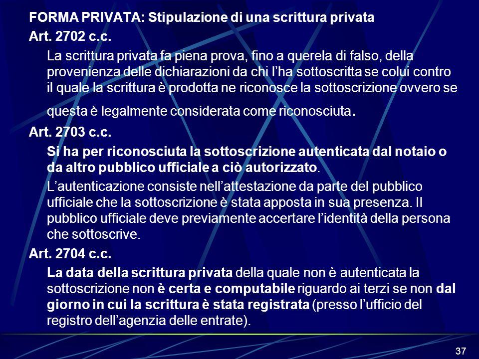 FORMA PRIVATA: Stipulazione di una scrittura privata Art. 2702 c. c
