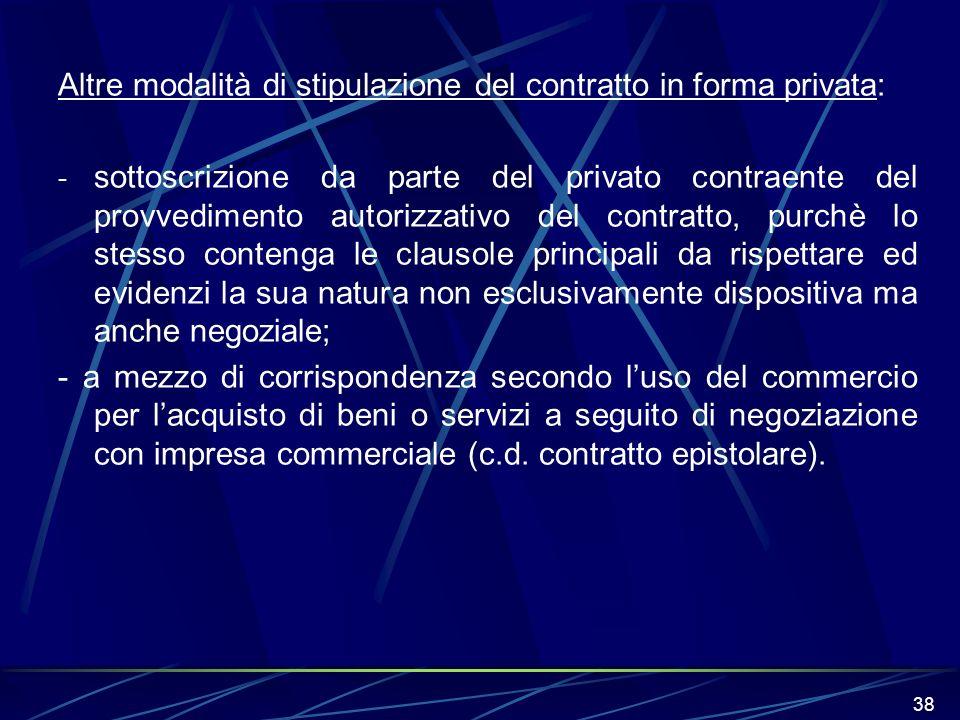 Altre modalità di stipulazione del contratto in forma privata: