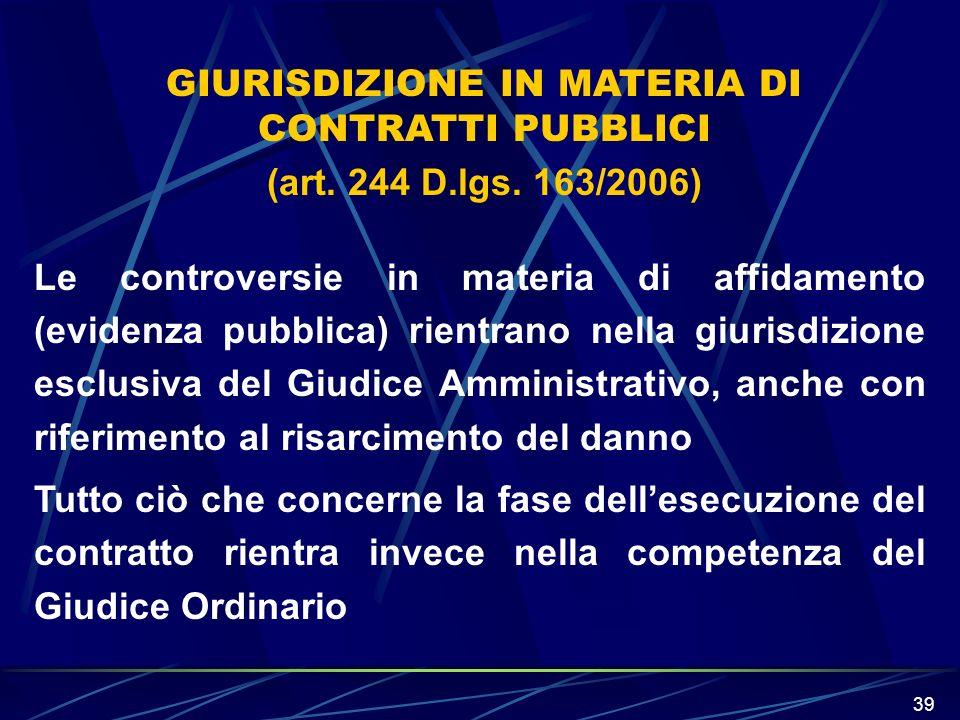 GIURISDIZIONE IN MATERIA DI CONTRATTI PUBBLICI