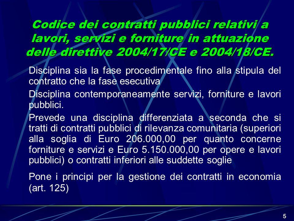 Pone i principi per la gestione dei contratti in economia (art. 125)