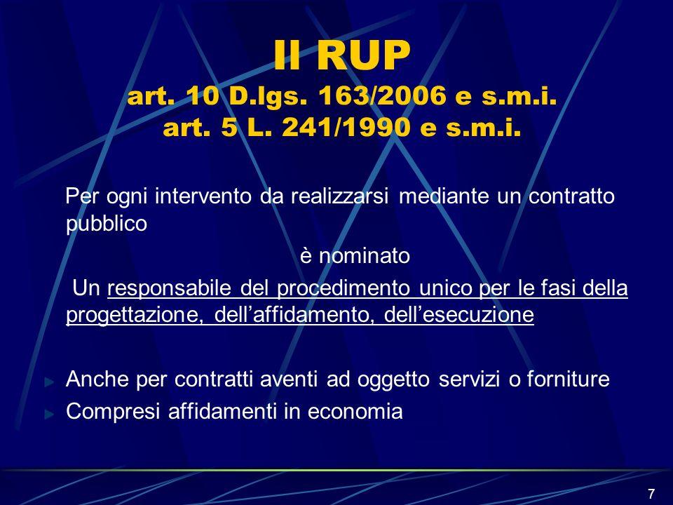 Il RUP art. 10 D.lgs. 163/2006 e s.m.i. art. 5 L. 241/1990 e s.m.i.