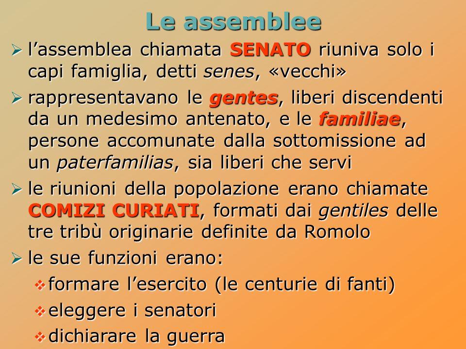 Le assemblee l'assemblea chiamata SENATO riuniva solo i capi famiglia, detti senes, «vecchi»