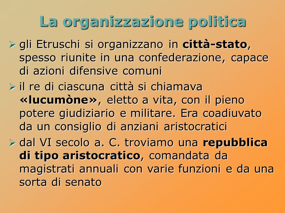 La organizzazione politica