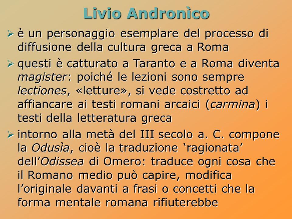 Livio Andronìco è un personaggio esemplare del processo di diffusione della cultura greca a Roma.