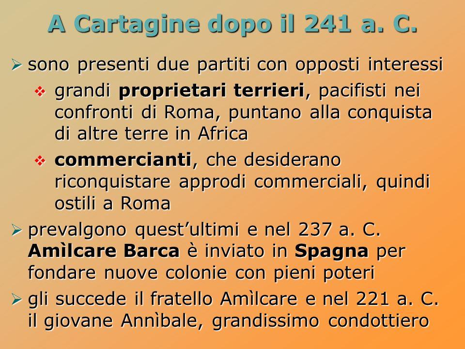 A Cartagine dopo il 241 a. C. sono presenti due partiti con opposti interessi.