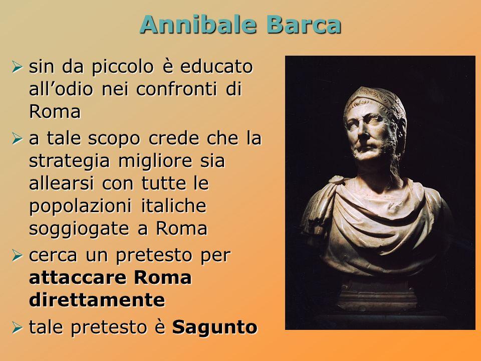 Annibale Barca sin da piccolo è educato all'odio nei confronti di Roma