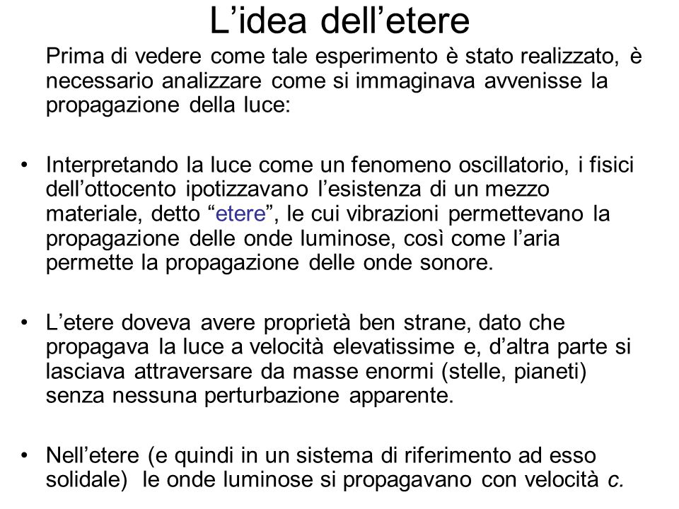 L'idea dell'etere