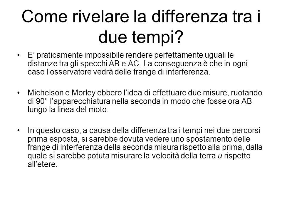 Come rivelare la differenza tra i due tempi