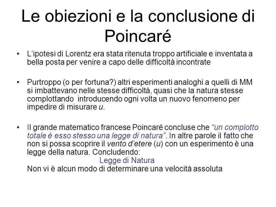 Le obiezioni e la conclusione di Poincaré