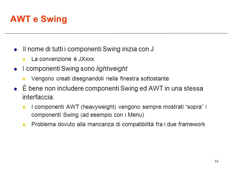 AWT e Swing Il nome di tutti i componenti Swing inizia con J