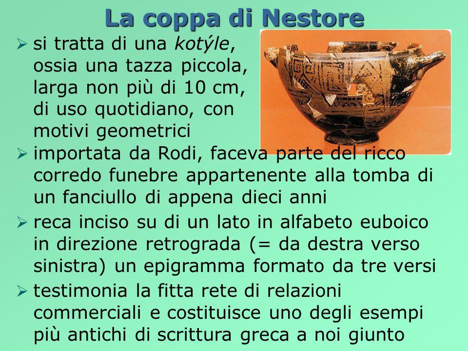 La coppa di Nestoresi tratta di una kotýle, ossia una tazza piccola, larga non più di 10 cm, di uso quotidiano, con motivi geometrici.