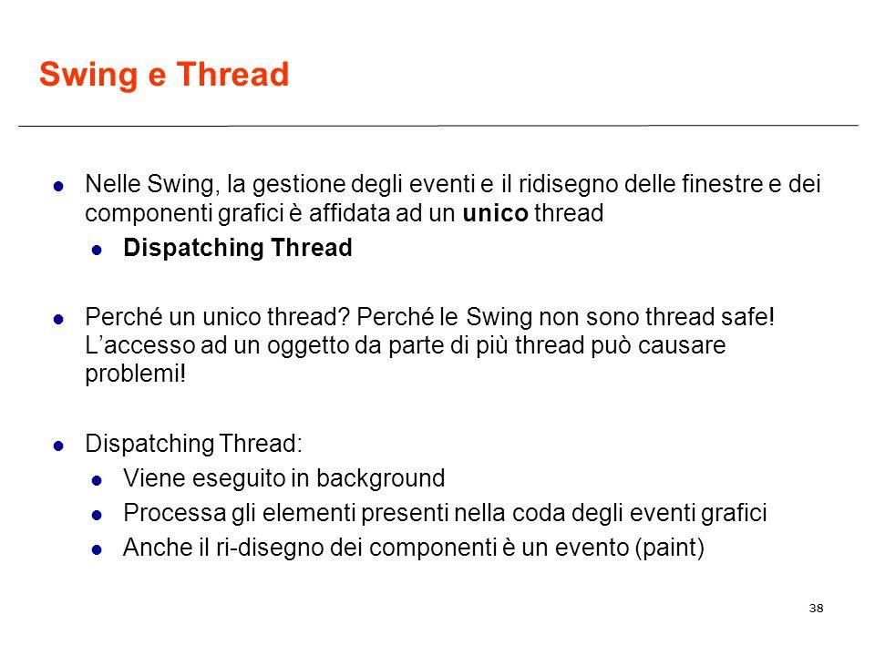 Swing e Thread Nelle Swing, la gestione degli eventi e il ridisegno delle finestre e dei componenti grafici è affidata ad un unico thread.