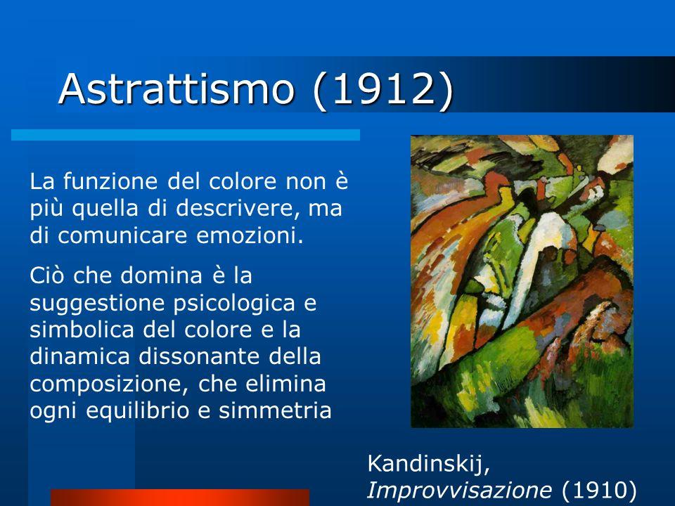 Astrattismo (1912) La funzione del colore non è più quella di descrivere, ma di comunicare emozioni.