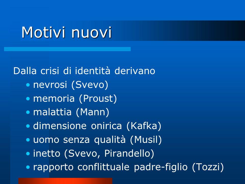 Motivi nuovi Dalla crisi di identità derivano nevrosi (Svevo)