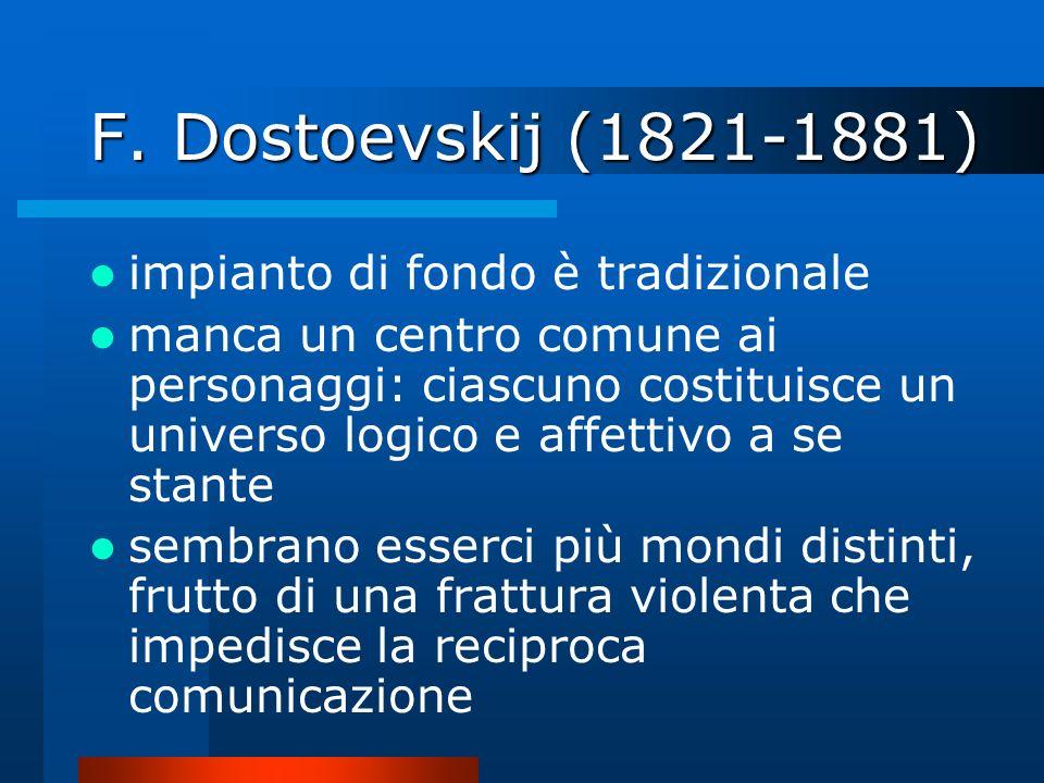 F. Dostoevskij (1821-1881) impianto di fondo è tradizionale