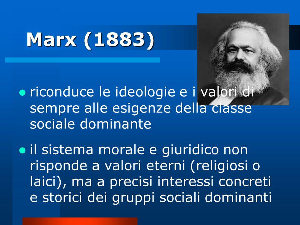 Marx (1883) riconduce le ideologie e i valori di sempre alle esigenze della classe sociale dominante.