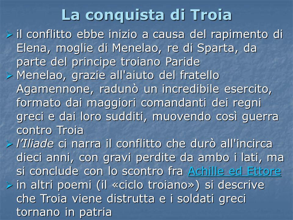 La conquista di Troiail conflitto ebbe inizio a causa del rapimento di Elena, moglie di Menelao, re di Sparta, da parte del principe troiano Paride.