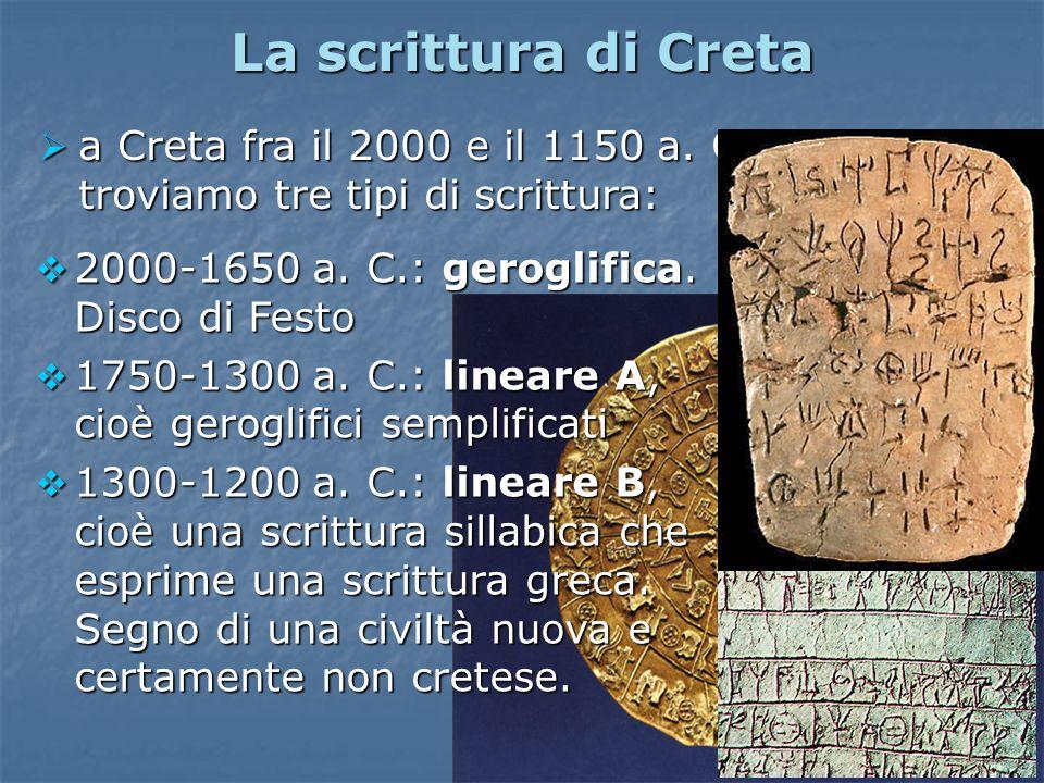 La scrittura di Creta a Creta fra il 2000 e il 1150 a. C. troviamo tre tipi di scrittura: 2000-1650 a. C.: geroglifica. Disco di Festo.