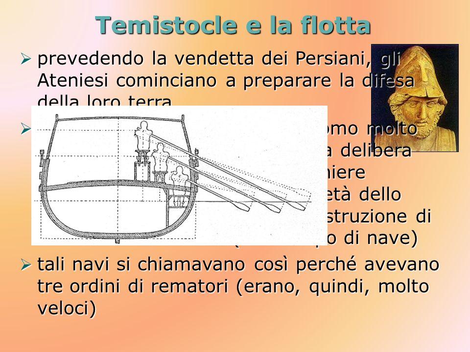 Temistocle e la flottaprevedendo la vendetta dei Persiani, gli Ateniesi cominciano a preparare la difesa della loro terra.