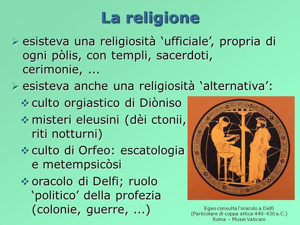 La religione esisteva una religiosità 'ufficiale', propria di ogni pòlis, con templi, sacerdoti, cerimonie, ...
