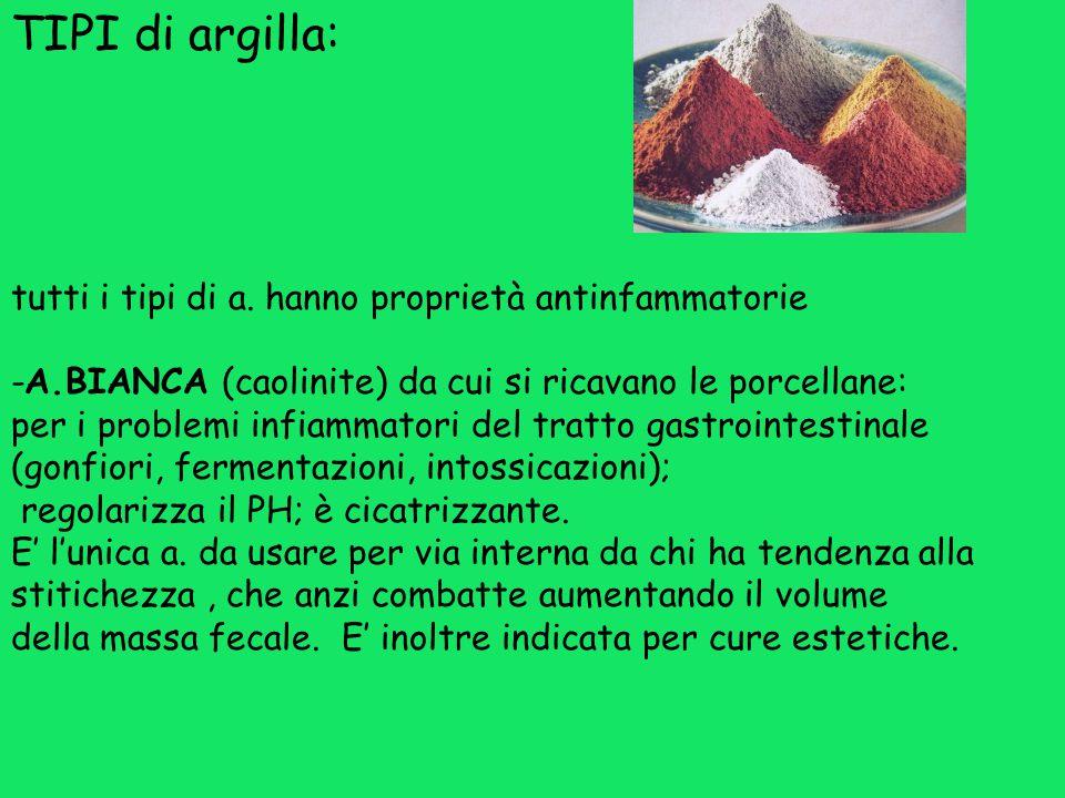 TIPI di argilla: tutti i tipi di a. hanno proprietà antinfammatorie