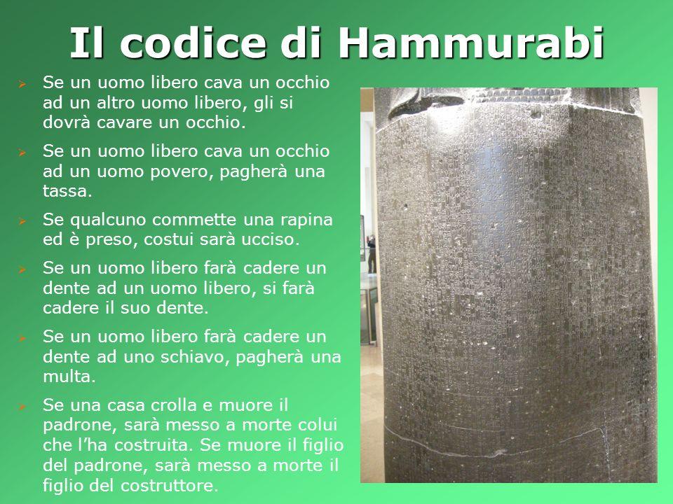 Il codice di Hammurabi Se un uomo libero cava un occhio ad un altro uomo libero, gli si dovrà cavare un occhio.