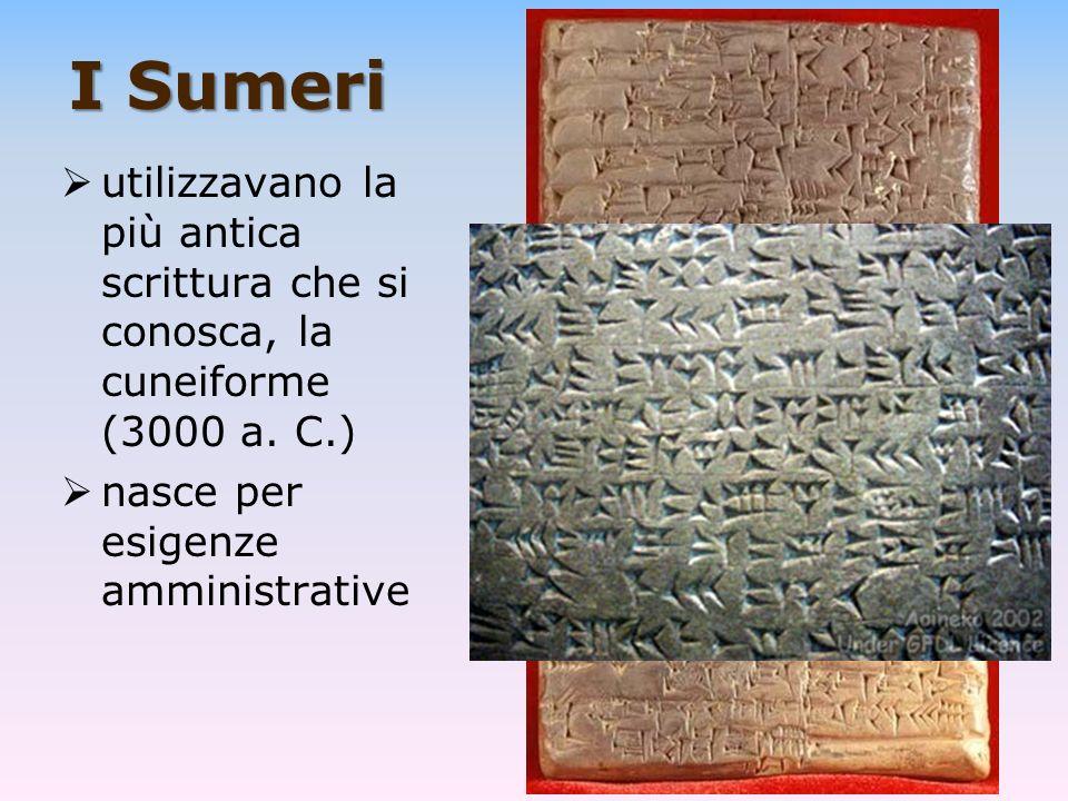 I Sumeri utilizzavano la più antica scrittura che si conosca, la cuneiforme (3000 a.