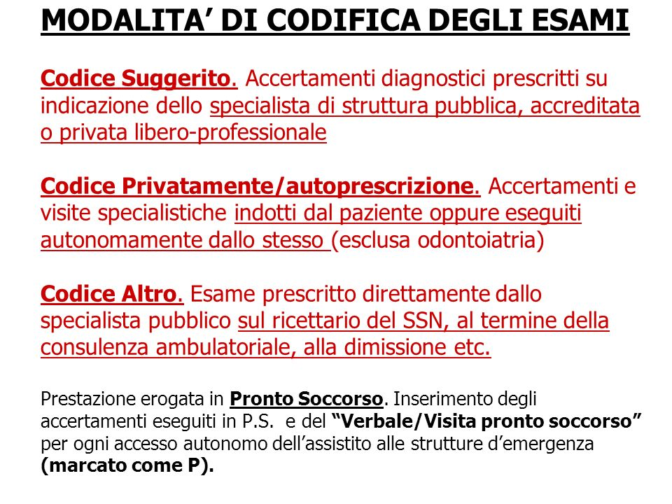 MODALITA' DI CODIFICA DEGLI ESAMI Codice Suggerito
