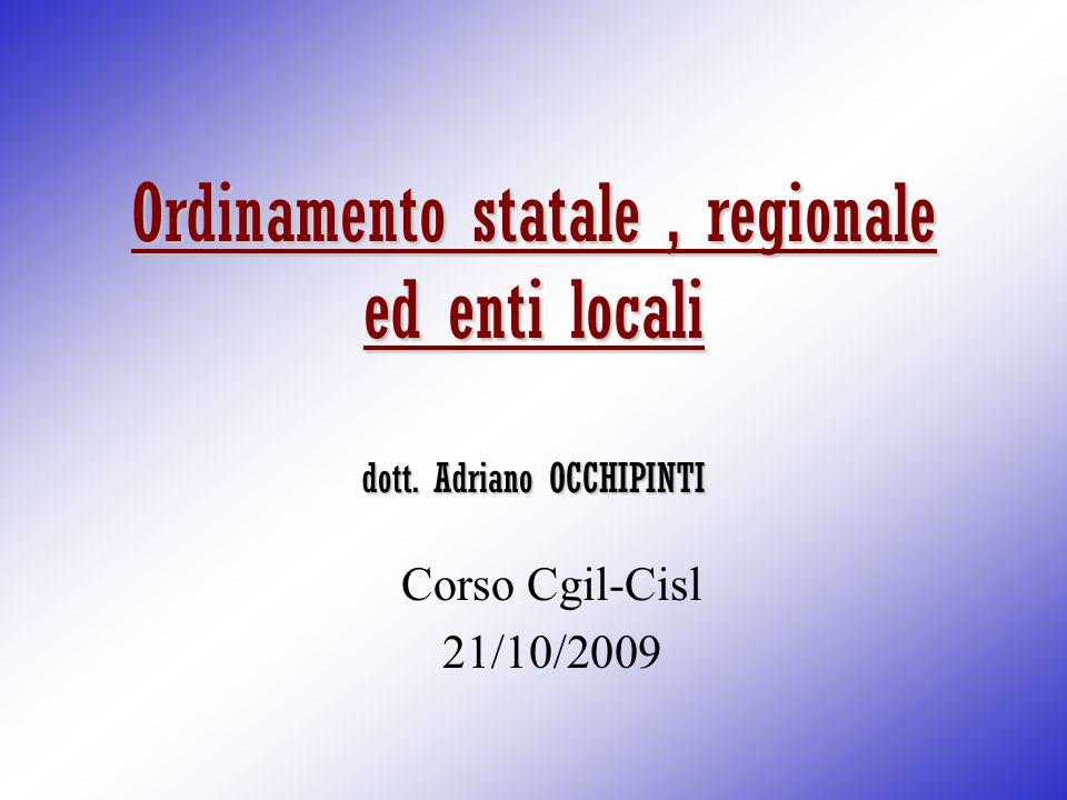 Ordinamento statale , regionale ed enti locali dott. Adriano OCCHIPINTI