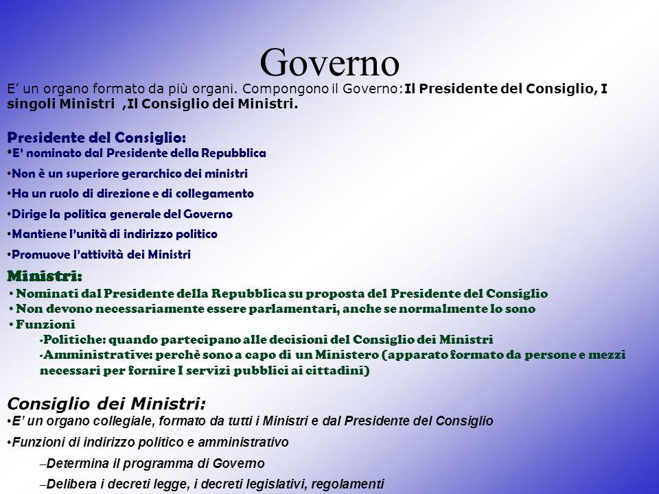 Governo Presidente del Consiglio: Ministri: Consiglio dei Ministri: