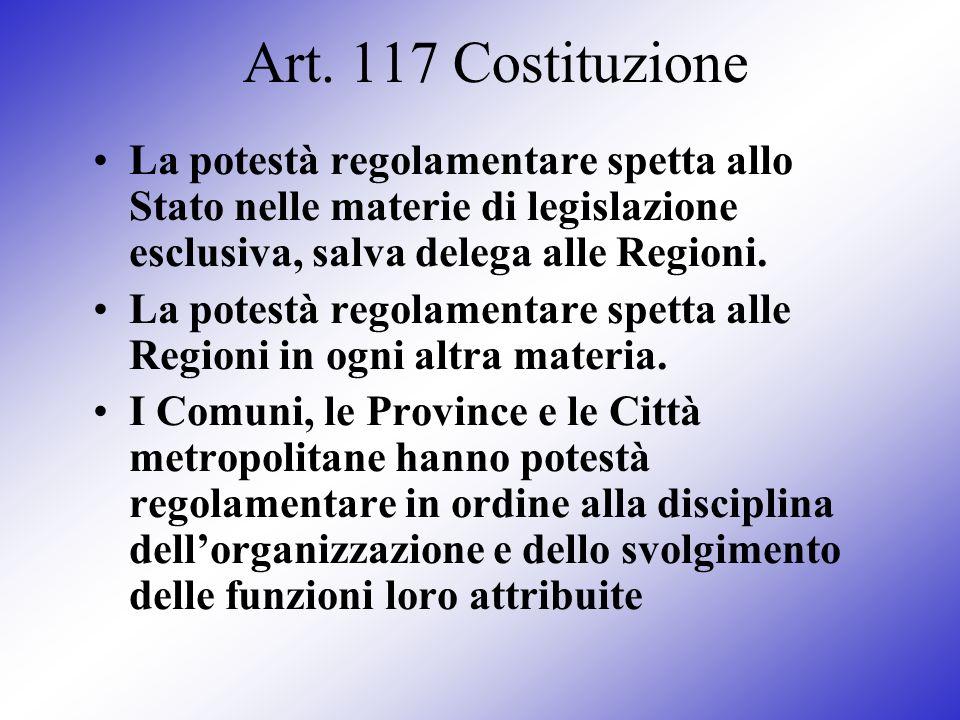 Art. 117 CostituzioneLa potestà regolamentare spetta allo Stato nelle materie di legislazione esclusiva, salva delega alle Regioni.