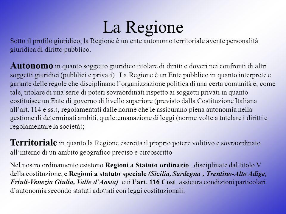 La RegioneSotto il profilo giuridico, la Regione è un ente autonomo territoriale avente personalità giuridica di diritto pubblico.