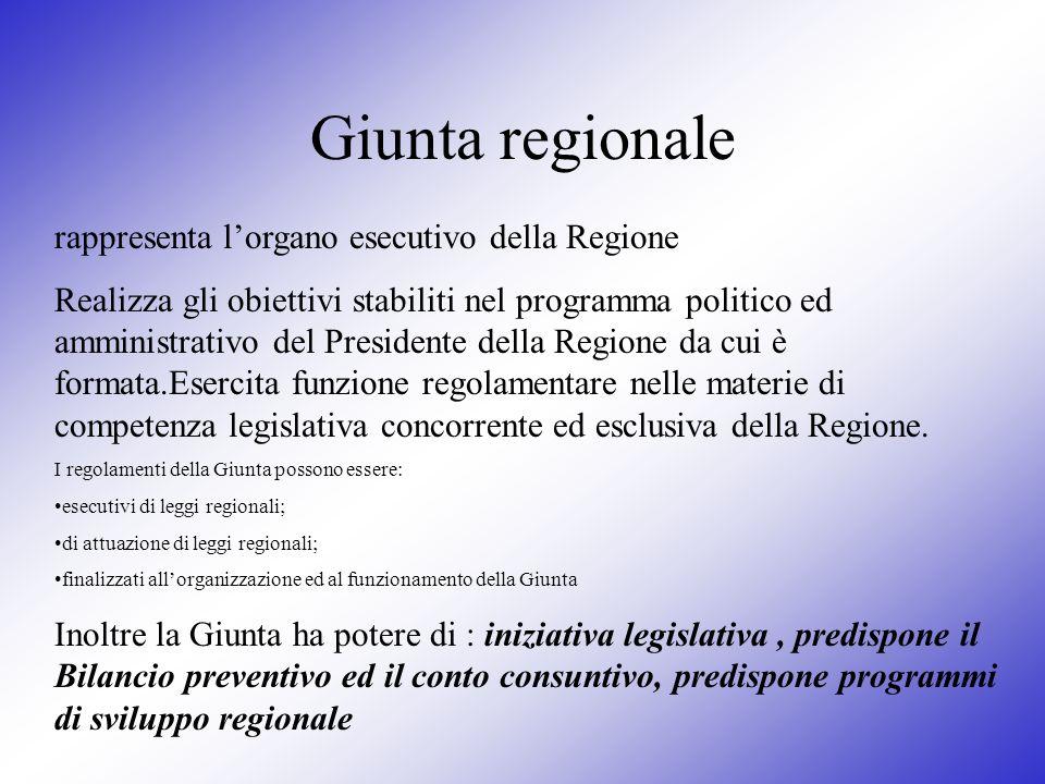 Giunta regionale rappresenta l'organo esecutivo della Regione