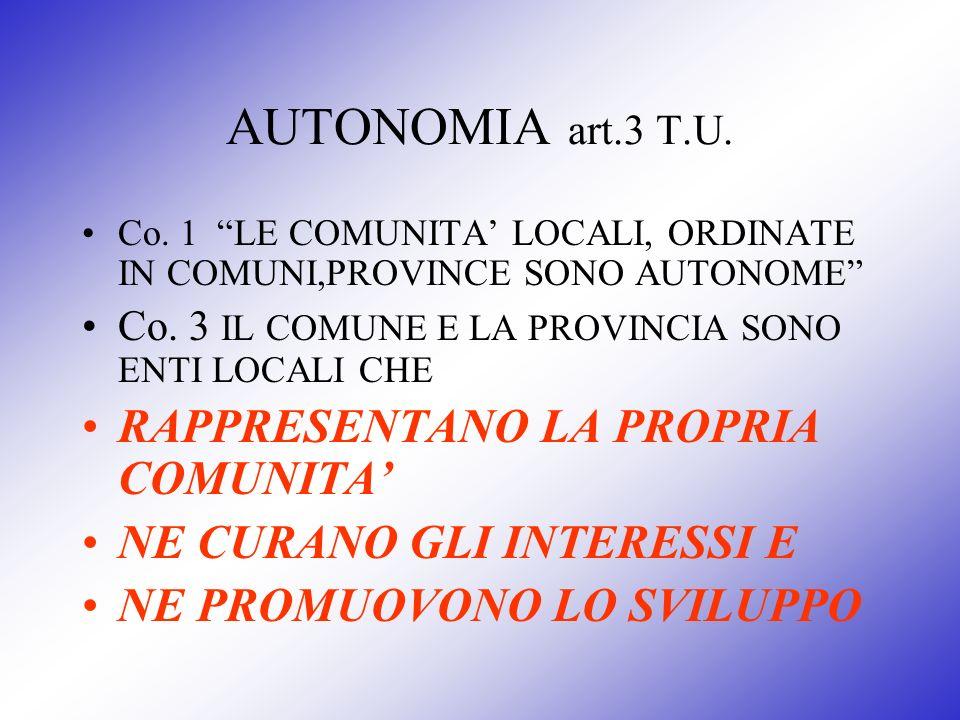 AUTONOMIA art.3 T.U. RAPPRESENTANO LA PROPRIA COMUNITA'