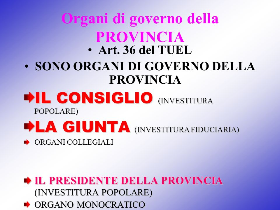 Organi di governo della PROVINCIA