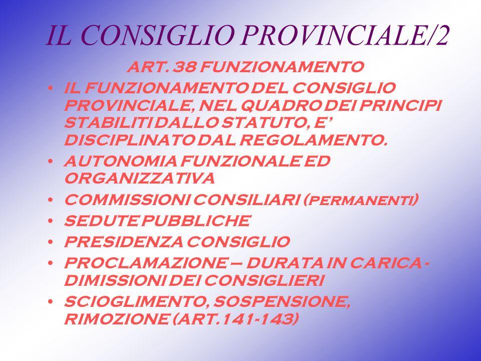 IL CONSIGLIO PROVINCIALE/2