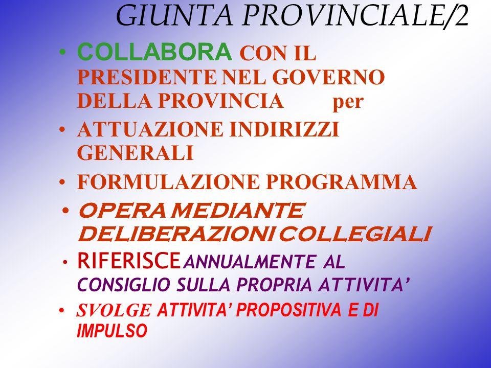 GIUNTA PROVINCIALE/2COLLABORA CON IL PRESIDENTE NEL GOVERNO DELLA PROVINCIA per. ATTUAZIONE INDIRIZZI GENERALI.