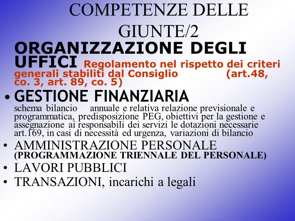 COMPETENZE DELLE GIUNTE/2
